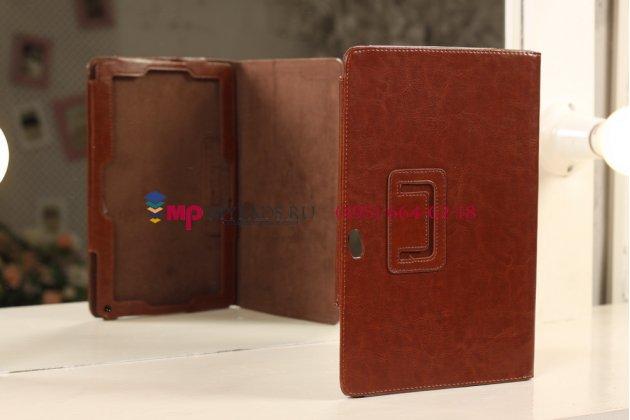 """Фирменный чехол-обложка для Acer Iconia Tab W510/W511 каштановый кожаный """"Премиум"""""""