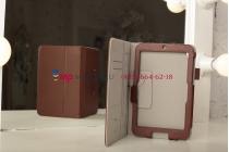Фирменный чехол-обложка для Acer Iconia Tab W3-810/811 коричневый кожаный