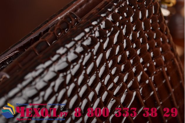 Фирменный роскошный эксклюзивный чехол-клатч/портмоне/сумочка/кошелек из лаковой кожи крокодила для планшета Acer Iconia Talk S (A1-734). Только в нашем магазине. Количество ограничено.
