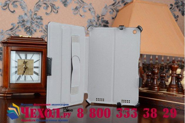 """Фирменный чехол для планшета Acer Iconia Tab A1-830/A1-831 с мульти-подставкой и держателем для руки черный кожаный """"Deluxe"""" Италия"""