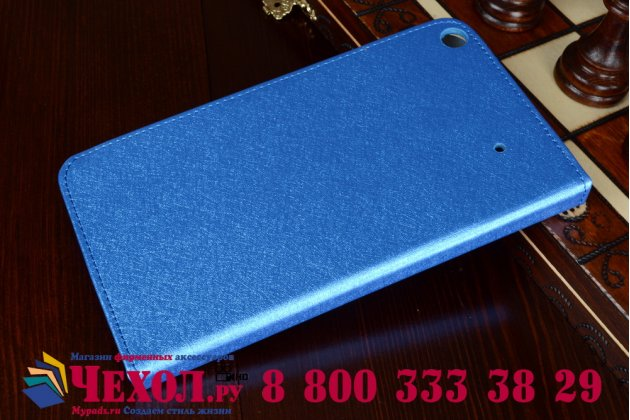 Фирменный оригинальный чехол обложка с подставкой для Acer Iconia Talk S A1-724 синий кожаный