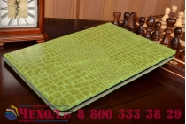 """Фирменный чехол для iPad Pro 12.9"""" лаковая кожа крокодила зелёный"""