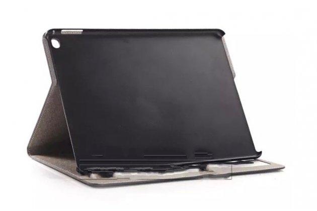 """Фирменный чехол-книжка из кожи с мульти-подставкой и застёжкой для iPad Pro 12.9"""" коричневый в клетку"""