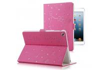 "Фирменный чехол-обложка для iPad2/3/4 тематика ""Hello Kitty"" розовый кожаный"