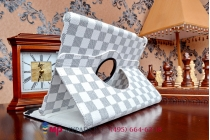Фирменный чехол-обложка для iPad Air в клетку белый кожаный