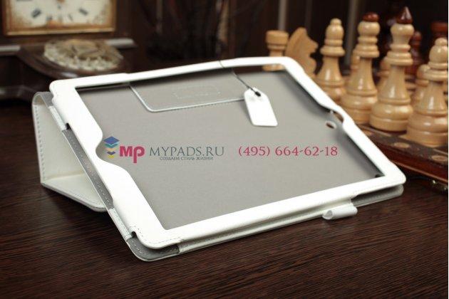 """Чехол-обложка для iPad Air MD794/791/795/792785/788789796/793/987 RU/A с визитницей и держателем для руки белый натуральная кожа """"Prestige"""" Италия"""