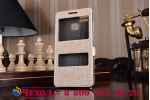 """Фирменный чехол-книжка для Asus ZenFone 3 Zoom ZE553KL 5.5"""" золотой с окошком для входящих вызовов и свайпом водоотталкивающий"""
