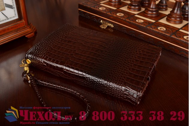 Фирменный роскошный эксклюзивный чехол-клатч/портмоне/сумочка/кошелек из лаковой кожи крокодила для планшетов iPad 3. Только в нашем магазине. Количество ограничено.