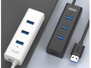 Фирменный универсальный Хаб сплиттер USB 3.0 30см для подключение флеш накопителя, клавиатуры, мыши, 4 гнезда