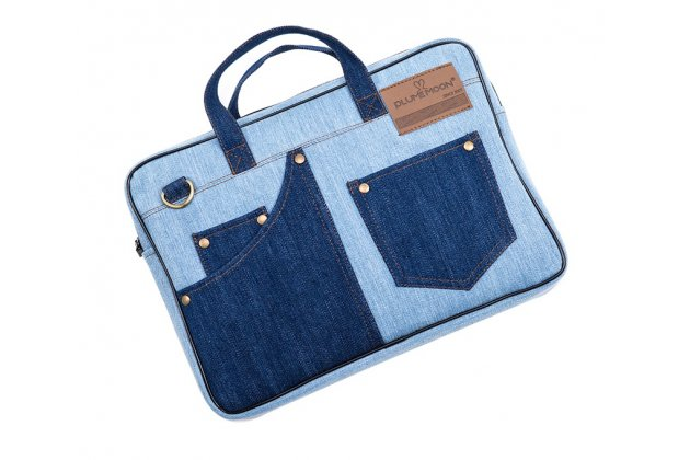 Чехол-сумка-бокс для Apple MacBook Air 11 Early 2015 (MJVM2/ MJVP2) 11.6 / Apple MacBook Air 11 Early 2014 ( MD711 / MD712) 11.6 с отделением для дополнительных аксессуаров из настоящей джинсы голубой