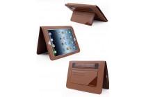 Фирменный премиальный чехол бизнес класса для iPad Air 2 с визитницей из качественной импортной кожи синий