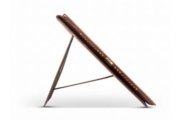Фирменный умный качественный элитный премиальный чехол бизнес класса для планшета iPad Pro 12.9 из качественной импортной кожи черный