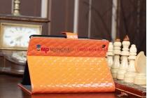 Сгёганая кожа в ромбик яркий сочный цвет чехол-обложка для iPad Mini оранжевый кожаный