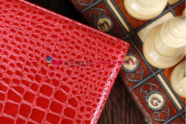 Лаковая блестящая кожа под крокодила чехол-обложка для iPad Mini красный