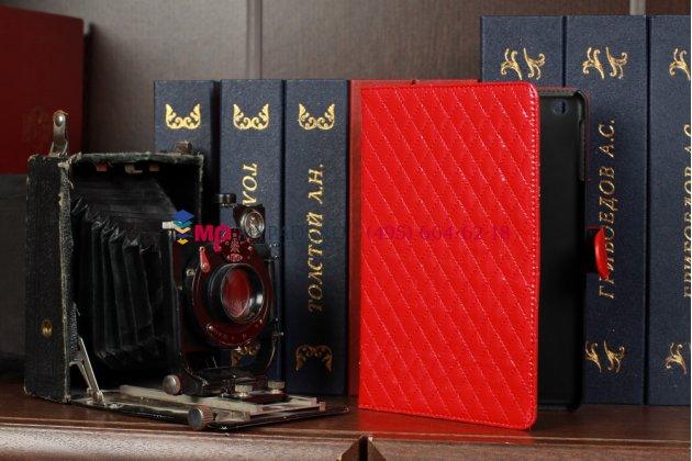 Сгёганая кожа в ромбик чехол-книжка для iPad Mini красный