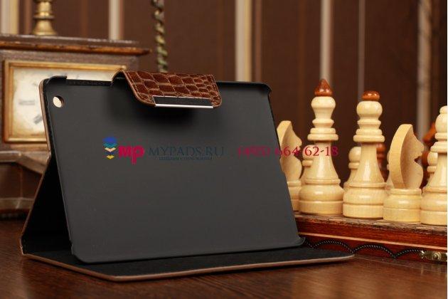 Фирменный чехол-футляр для iPad Mini лаковая кожа крокодила шоколадный коричневый