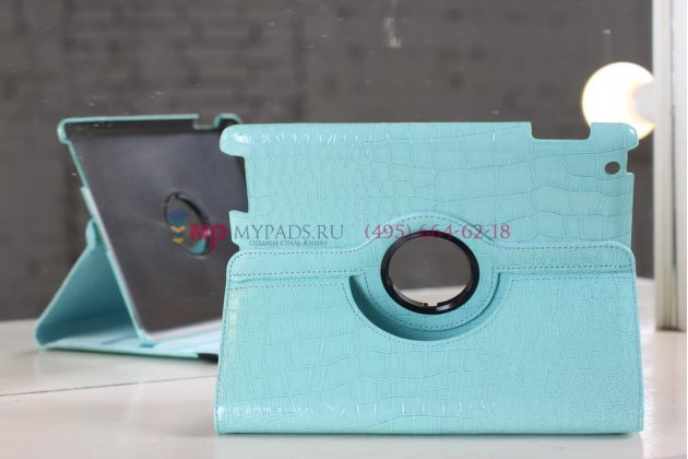 Фирменный чехол-обложка для iPad2/new iPad 3/iPad 4 роторный оборотный поворотный кожа крокодила бирюзовый
