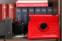 Фирменный чехол-обложка для iPad2/new iPad 3/iPad 4 роторный оборотный поворотный кожа крокодила алый огненный красный